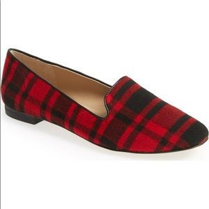 Sole Society Miia Flats Loafers Red & Black Plaid